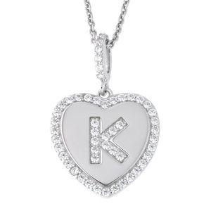 Letter K Initial Heart CZ Pendant Sterling Silver